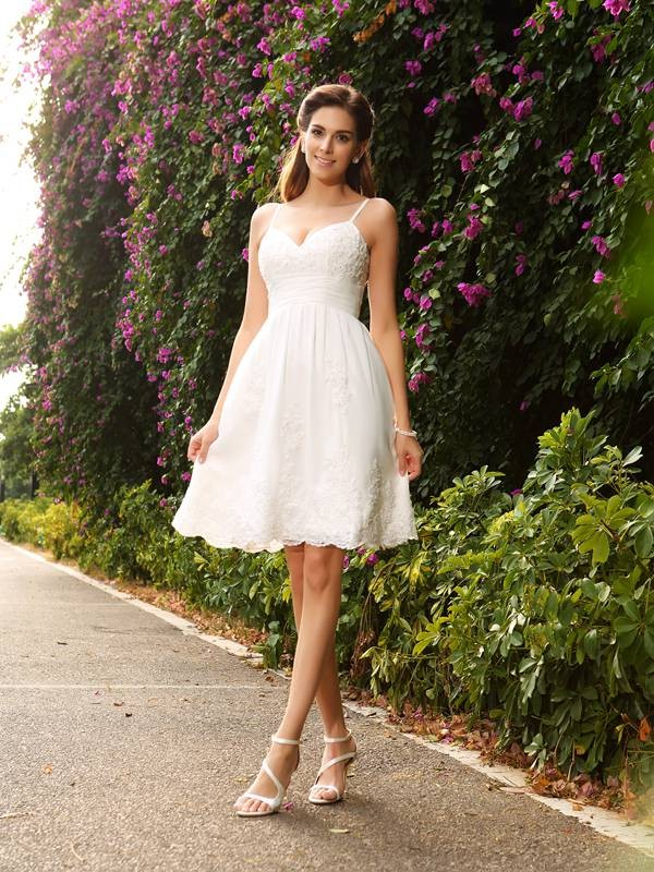 Gorgeous A-Line Spaghetti Straps Sleeveless Short Lace Wedding Dress