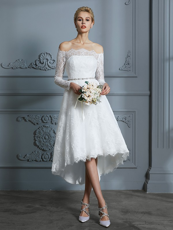 Unique A-Line Long Sleeves Off-the-Shoulder Asymmetrical Lace Wedding Dress
