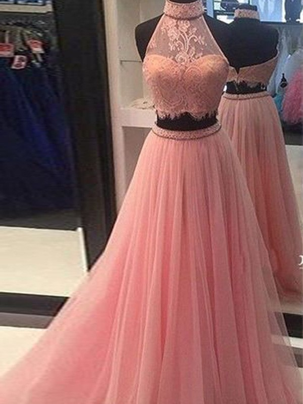 Perfect A-Line Sleeveless High Neck Tulle Lace Floor-Length Two Piece Dress