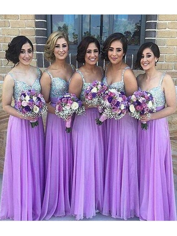 Cheap A-Line Sleeveless Sweetheart Floor-Length Sequin Chiffon Bridesmaid Dress