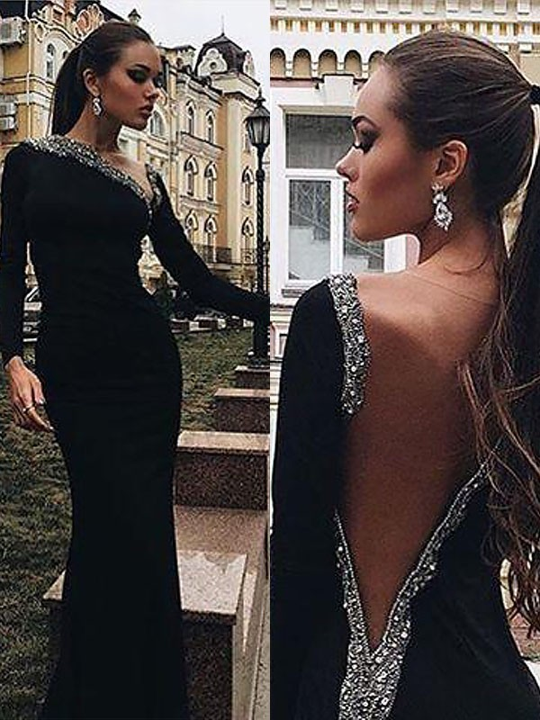 Fashion Mermaid Long Sleeves One-Shoulder Spandex Floor-Length Dress