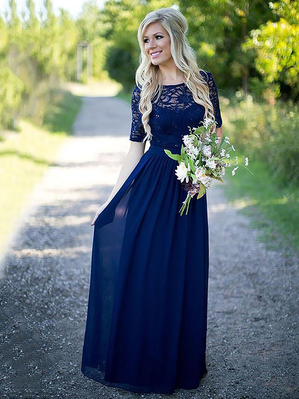 Exquisite A-Line Scoop 1/2 Sleeves Floor-Length Chiffon Bridesmaid Dress