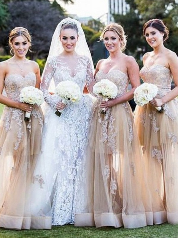 Discount A-Line Sweetheart Sleeveless Tulle Bridesmaid Dress