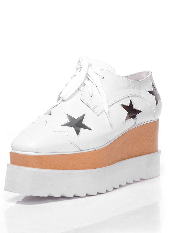 Fashion Women Closed Toe Patent Leather Platform Wedge Heel Lace-up White Sneakers