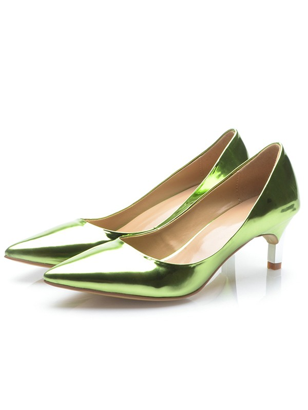 Chic Women Green Patent Leather Closed Toe Cone Heel High Heels