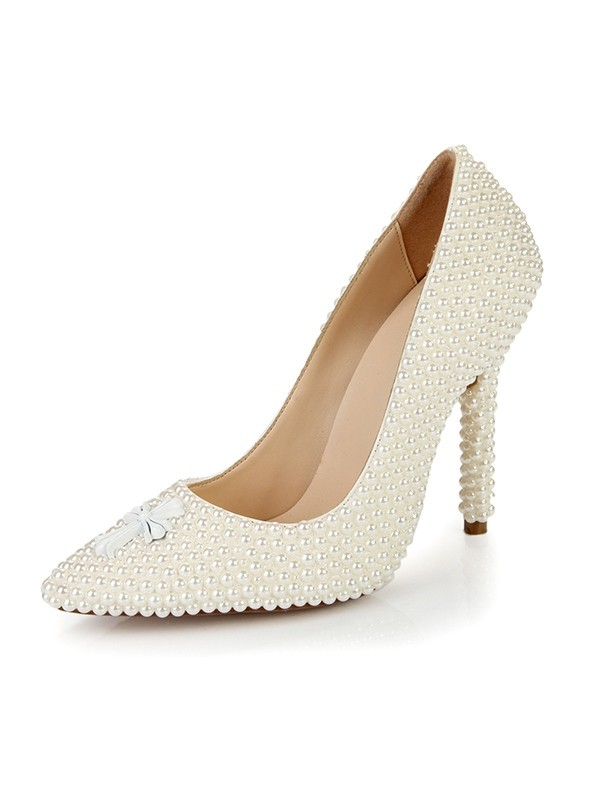 Classical Women Stiletto Heel Closed Toe Patent Leather Pearl Ivory Wedding Shoes