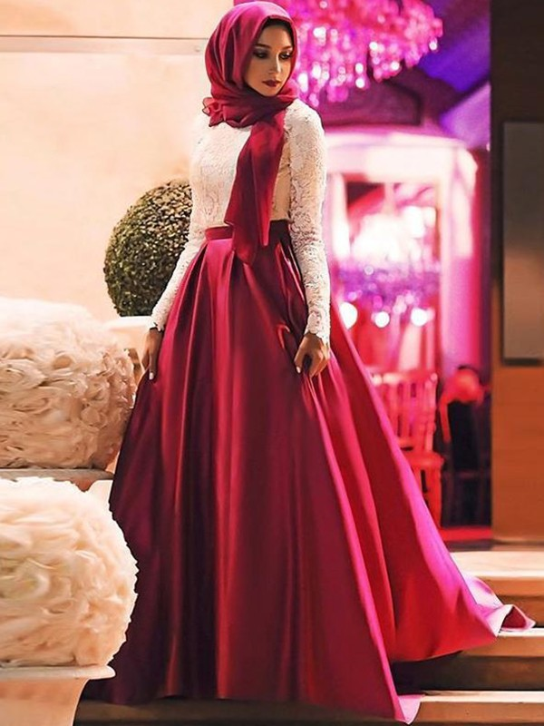 Amazing A-Line Long Sleeves Scoop Sweep/Brush Train Lace Satin Muslim Dress
