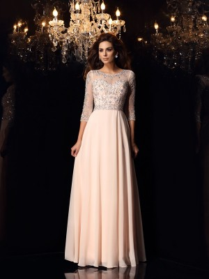 Gorgeous A-Line Scoop 3/4 Sleeves Long Chiffon Dress