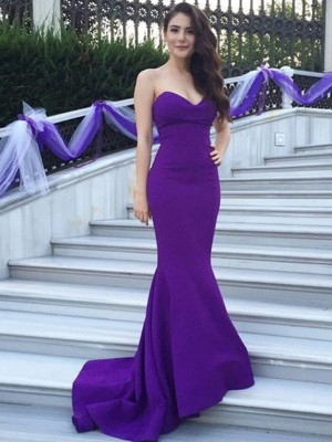 Cheap Mermaid Sweetheart Sleeveless Sweep/Brush Train Satin Bridesmaid Dress