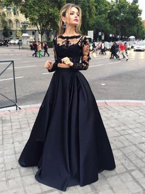 Cheap Ball Gown Long Sleeves Bateau Satin Floor-Length Dress