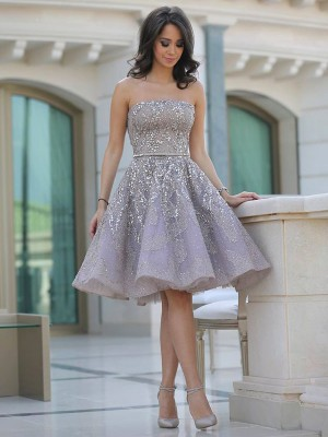 Discount A-Line Strapless Sleeveless Sequin Knee-Length Lace Dress