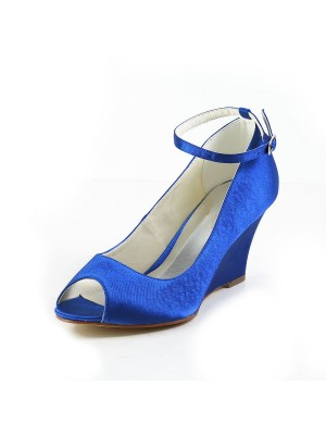 Stylish Women Satin Wedge Heel Wedges Peep Toe Wedges Shoes Buckle