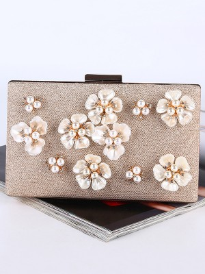 New Pearl With Flowers Evening/Party Handbag