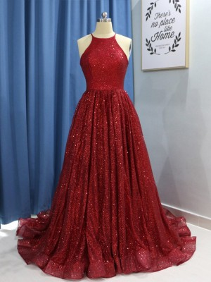 Exquisite A-Line Sleeveless Sweep/Brush Train Sequins Dress