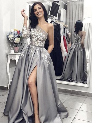 Elegant A-Line Sleeveless One-Shoulder Sweep/Brush Train Satin Dress