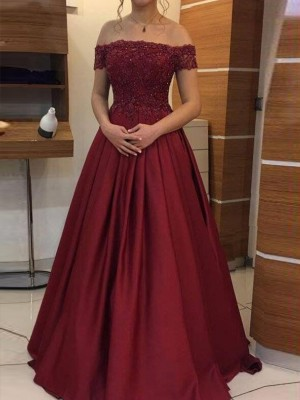 Fashion Ball Gown Off-the-Shoulder Sleeveless Floor-Length Satin Dress