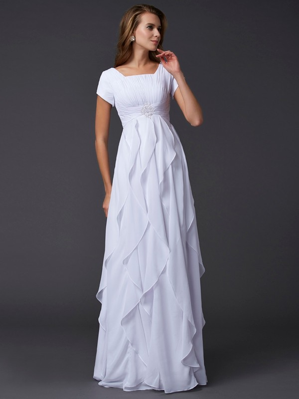 Elegant Sheath Square Short Sleeves Long Chiffon Dress