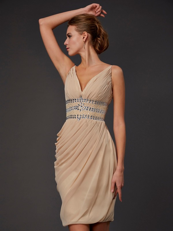 Elegant Sheath V-neck Sleeveless Short Chiffon Homecoming Dress