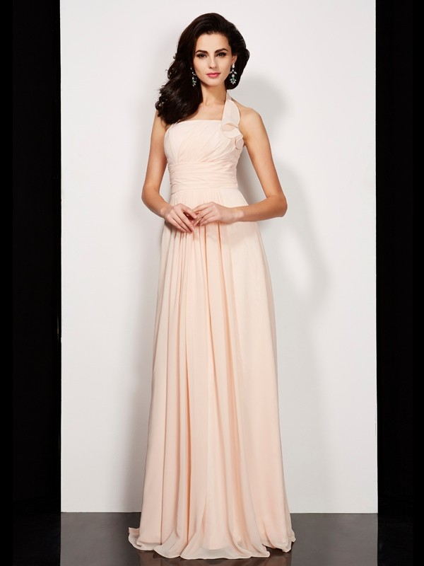 Elegant A-Line Halter Sleeveless Long Chiffon Dress