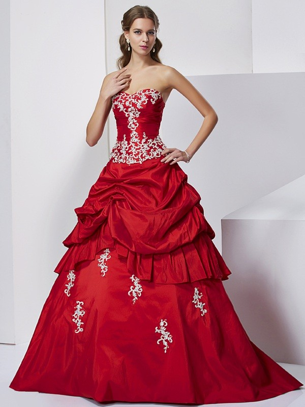 Elegant Ball Gown Sweetheart Sleeveless Long Taffeta Quinceanera Dress