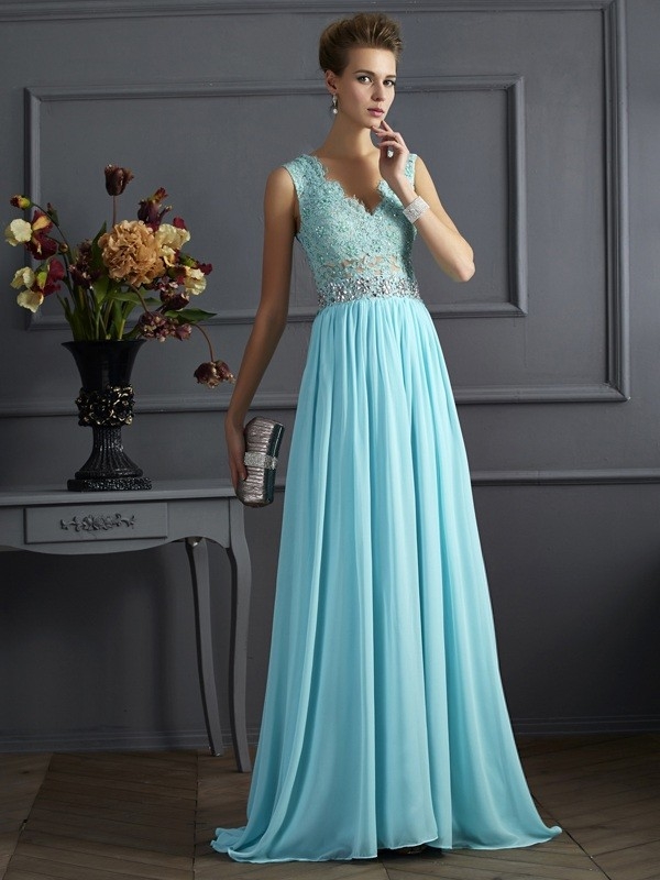 Chic A-Line Straps Sleeveless Lace Long Chiffon Dress