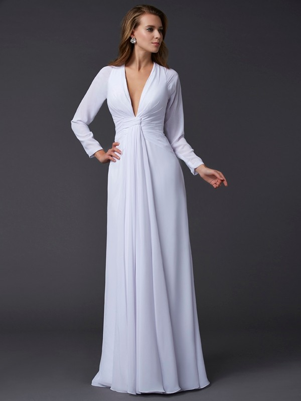 Chic Sheath V-neck Long Sleeves Long Chiffon Dress