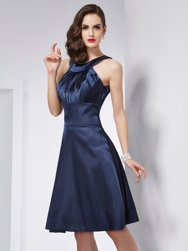 Chic A-Line Scoop Sleeveless Short Elastic Woven Satin Bridesmaid Dress