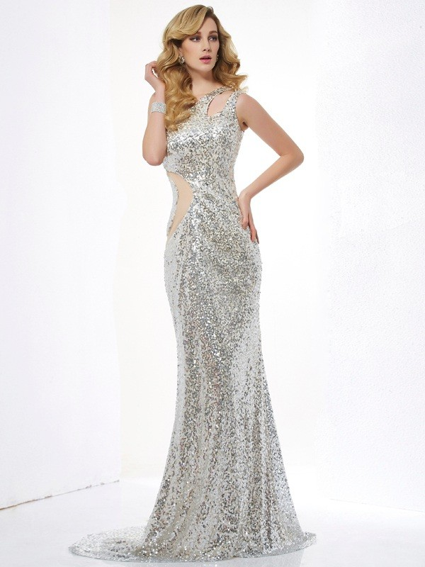 Chic Mermaid One-Shoulder Sleeveless Lace Long Lace Dress