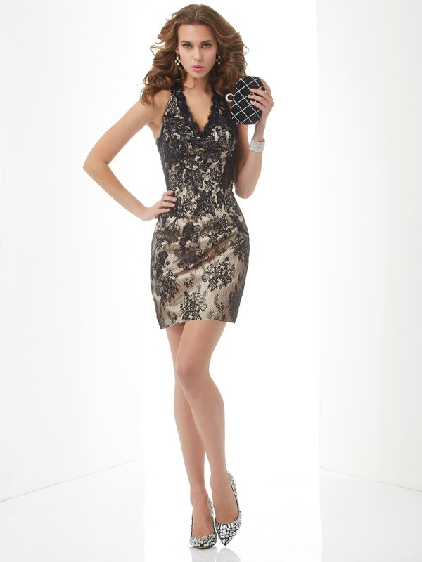 Stylish Sheath Halter Sleeveless Lace Short Lace Homecoming Dress