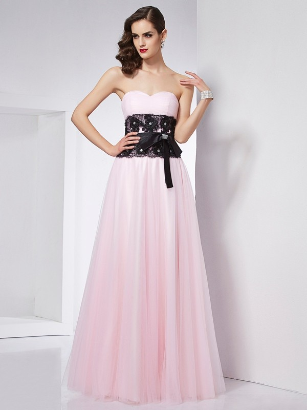 Fashion A-Line Sweetheart Sleeveless Lace Long Net Dress