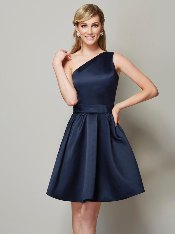 Fashion A-Line One-Shoulder Sleeveless Short Satin Bridesmaid Dress