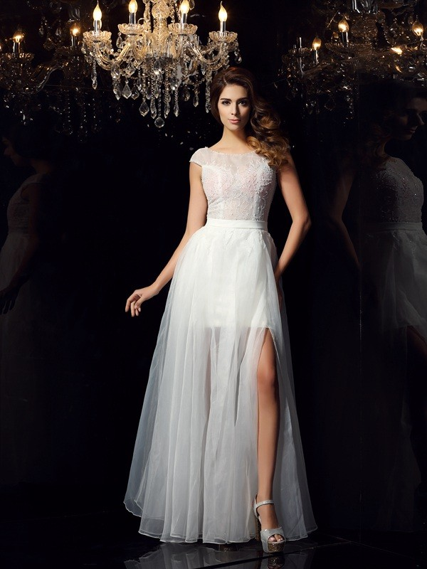 Fashion A-Line Scoop Short Sleeves Long Tulle Dress