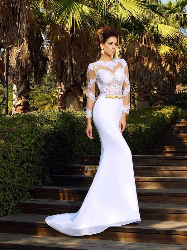Glamorous Sheath Scoop Long Sleeves Long Satin Wedding Dress