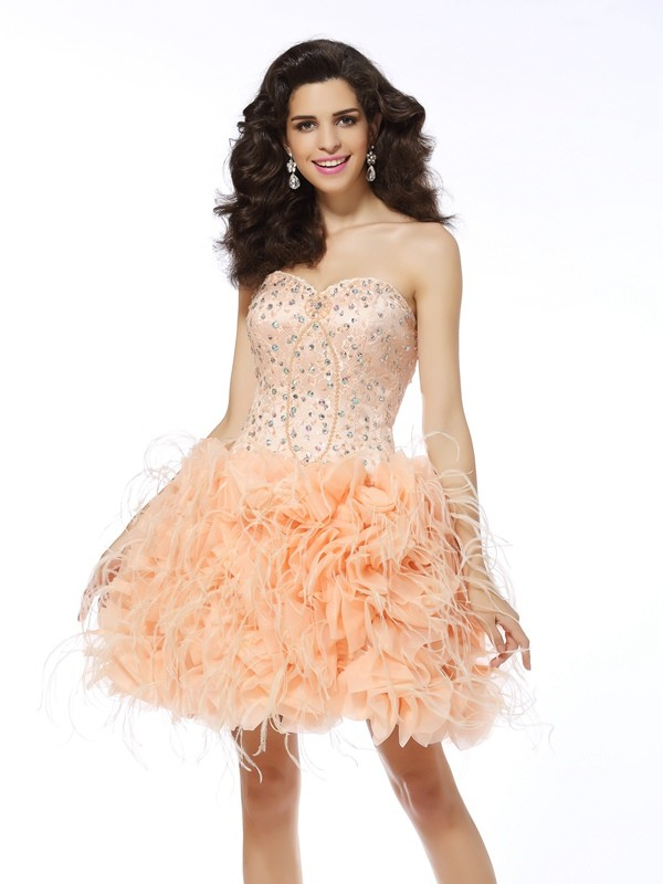 Exquisite A-Line Sweetheart Sleeveless Short Organza Cocktail Dress