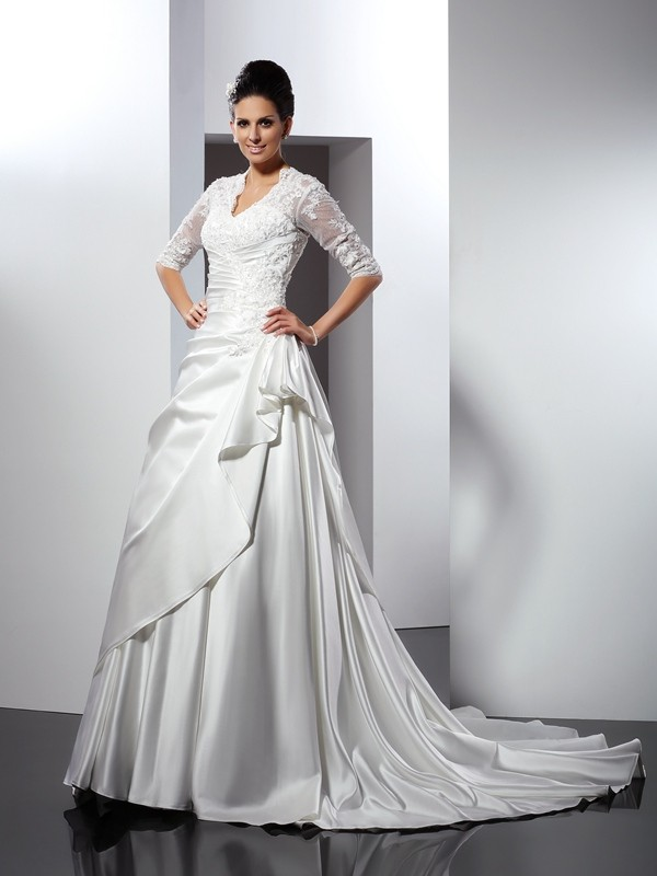 Exquisite A-Line V-neck 1/2 Sleeves Long Satin Wedding Dress