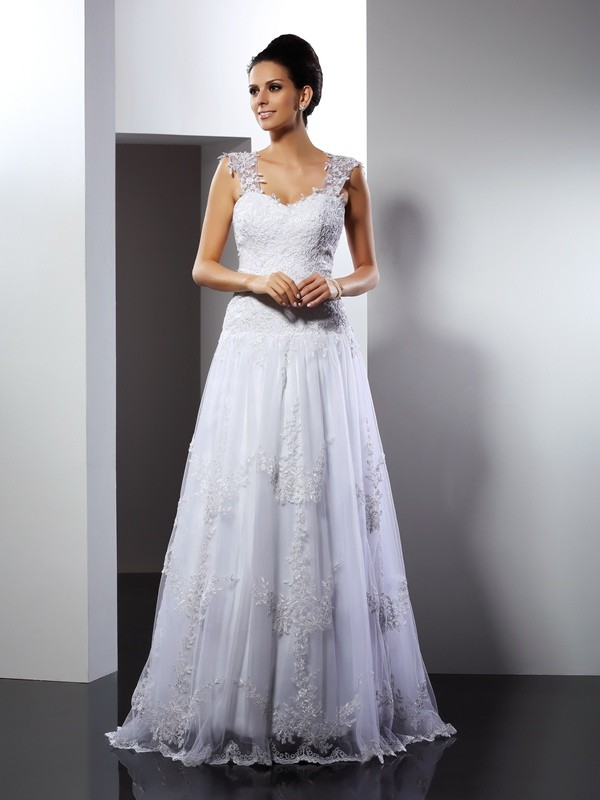 Exquisite A-Line Straps Sleeveless Long Lace Wedding Dress