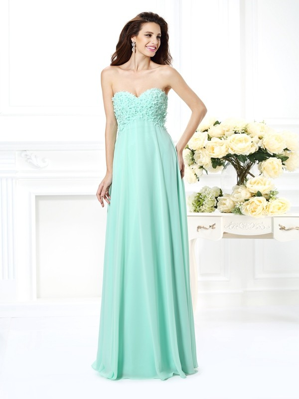 Exquisite A-Line Sweetheart Sleeveless Long Chiffon Bridesmaid Dress
