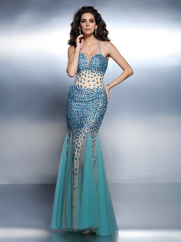 Exquisite Mermaid Spaghetti Straps Sleeveless Long Satin Dress