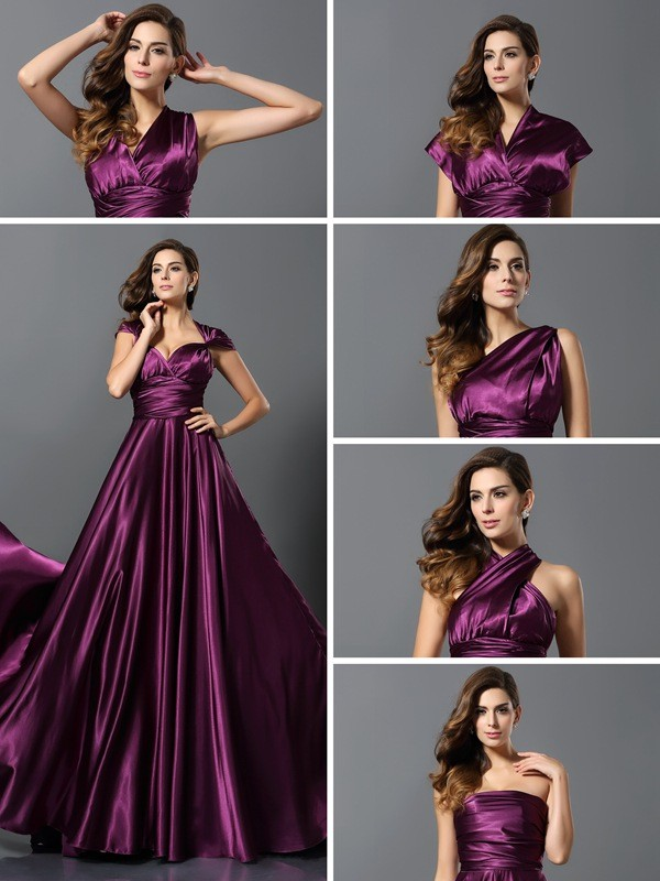 Exquisite A-Line Sleeveless Long Silk like Satin Bridesmaid Dress