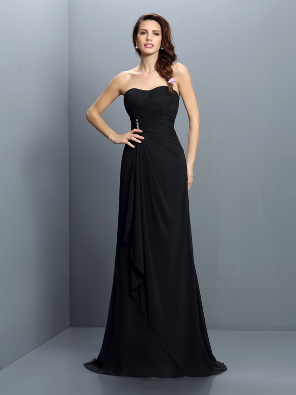 Exquisite Mermaid Strapless Sleeveless Long Chiffon Bridesmaid Dress