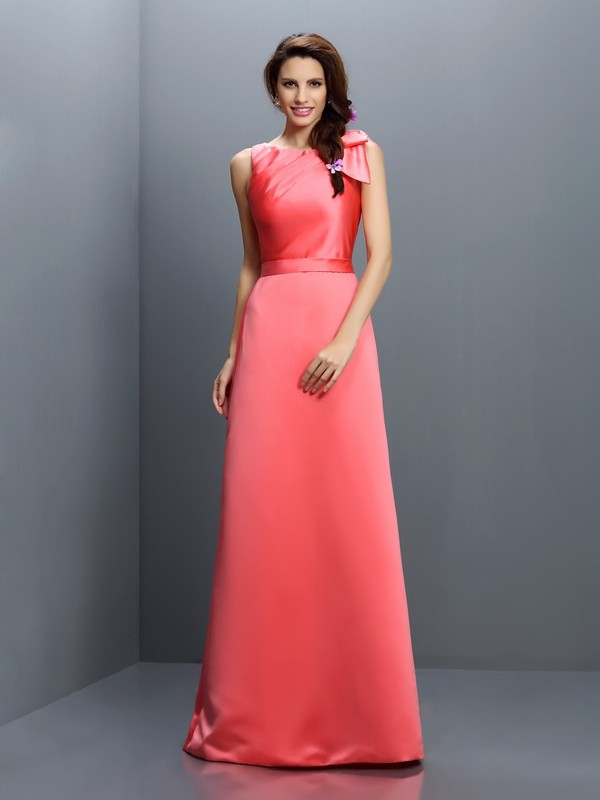 Charming Sheath Bateau Sleeveless Long Satin Bridesmaid Dress