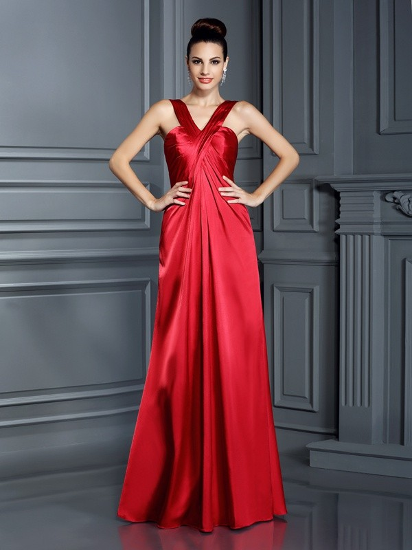 Charming A-Line Straps Sleeveless Long Elastic Woven Satin Bridesmaid Dress
