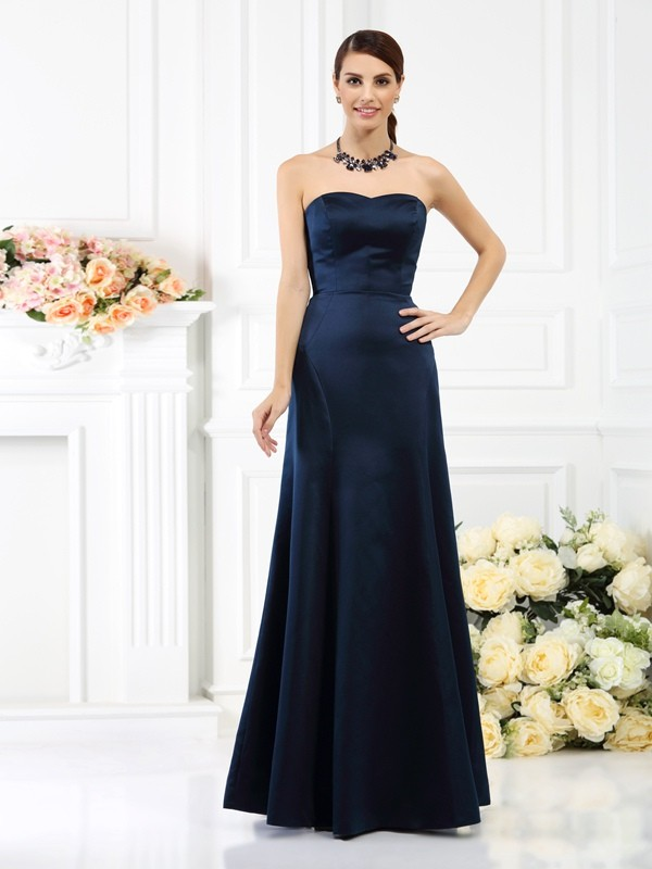 Charming Sheath Strapless Sleeveless Long Satin Bridesmaid Dress