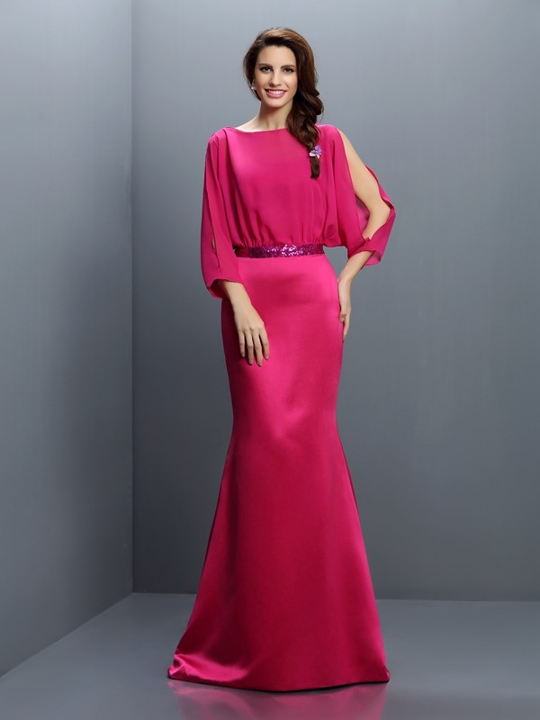 Charming Mermaid Bateau Long Sleeves Long Chiffon Bridesmaid Dress