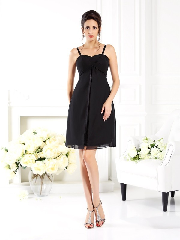 Charming A-Line Spaghetti Straps Sleeveless Short Chiffon Bridesmaid Dress