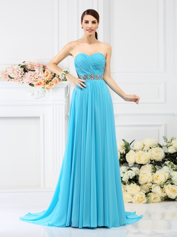 Charming A-Line Sweetheart Sleeveless Long Chiffon Bridesmaid Dress