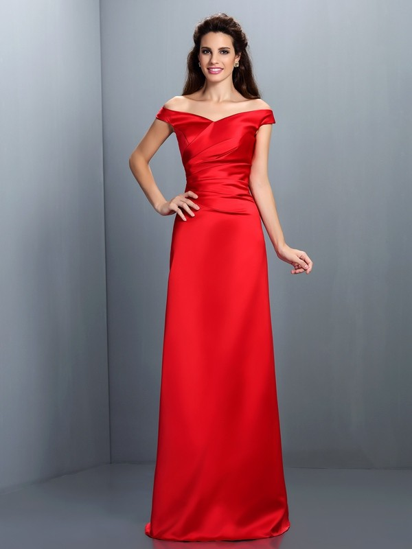 Charming Sheath Off-the-Shoulder Sleeveless Long Satin Bridesmaid Dress