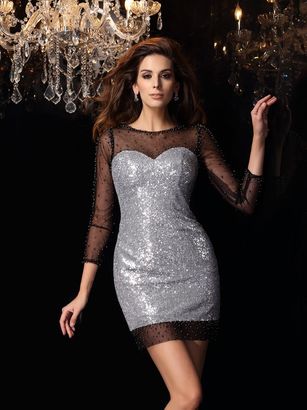 Charming Sheath Scoop 3/4 Sleeves Short Sequins Cocktail Dress
