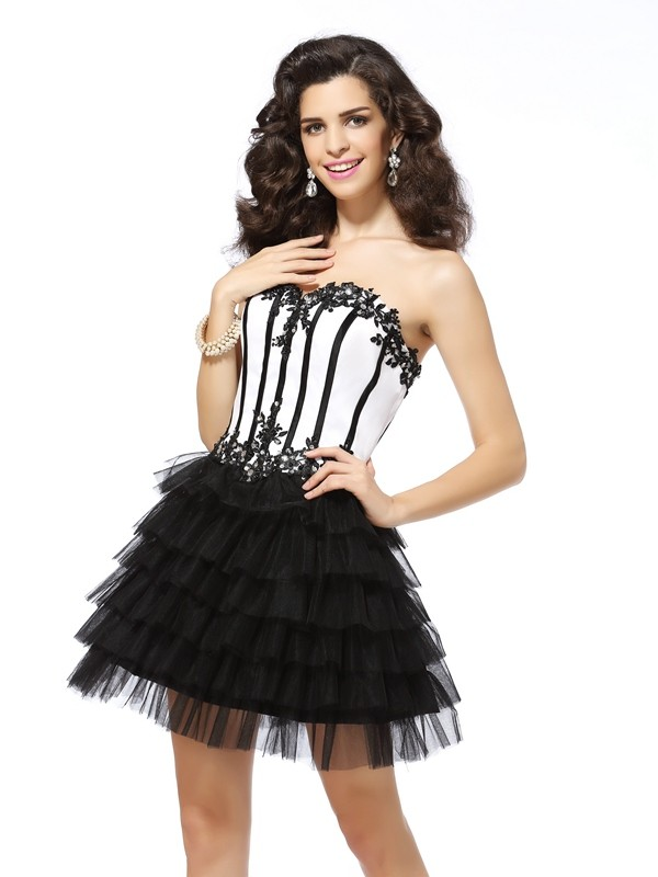 Classical A-Line Sweetheart Sleeveless Short Tulle Cocktail Dress