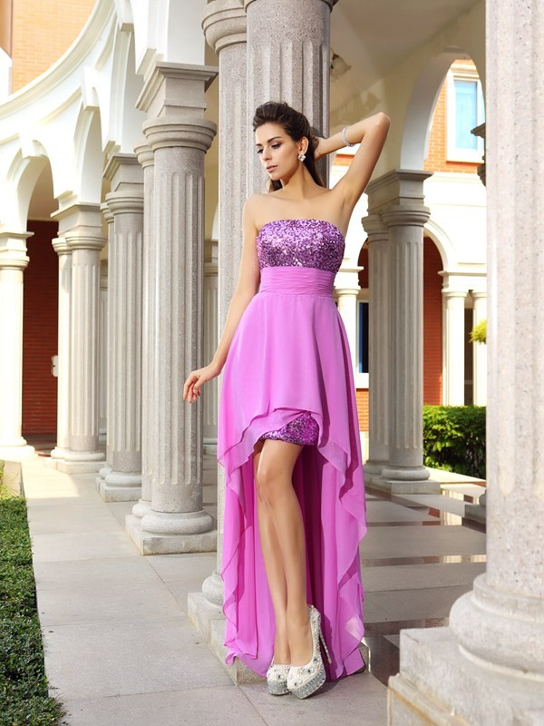 Classical A-Line Strapless Sleeveless High Low Chiffon Cocktail Dress